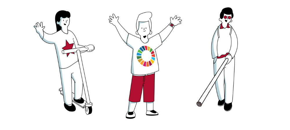 On the left: A girl using a scooter waving her right hand, wearing a white t-shirt with a red star in the middle. In the middle: A boy with a logo of UN SDGs standing with his arms in the air, wearing red shorts. On the right: A boy wearing glasses and smiling, he is empowered with a walking stick.