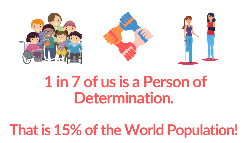 Photo showing that 1 in 7 of us is a Person of determination. That is 15% of the World population.