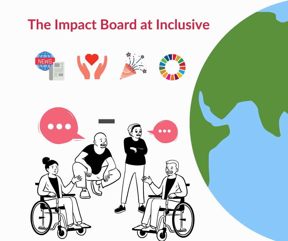 Photo of impact board with people having conversation.